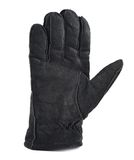 Suede winter glove isolated. Black suede winter glove isolated over white background Royalty Free Stock Photo
