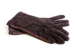 Suede women's gloves Stock Image