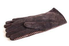 Suede women's gloves Stock Photos