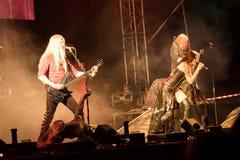Suele Jansen y a Marco Hietala de la banda de rock finlandesa Nightwish Imagen de archivo libre de regalías