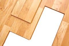 Suelo de entarimado de madera Construcción interior foto de archivo