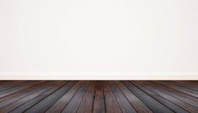 Suelo de parqué y pared blanca imagenes de archivo