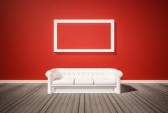 Suelo de parqué y pared roja, con el sofá rojo, 3d rendido Imagen de archivo libre de regalías
