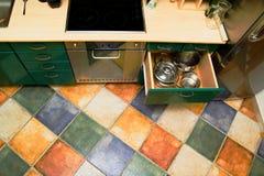 Suelo del interior de la cocina Fotos de archivo