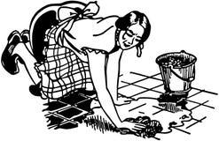Suelo que se lava de la mujer stock de ilustración