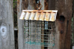 Suet Bird Feeder needing some suet. Empty suet bird feeder with rustic fence in the background, tin roof Royalty Free Stock Image