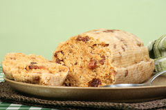 Suet pudding. Home made steamed suet pudding with fruit Royalty Free Stock Images