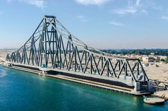 Suez Canal, Egypt, 2017: El Ferdan Railway Bridge, the longest swing bridge in the world. Runs from the west of the Suez Canal to the east into Sinai, opens Stock Photography