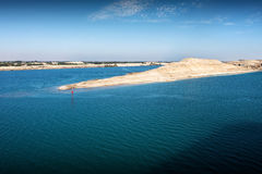The Suez Canal - entry into the new extension canal at the end o Royalty Free Stock Images