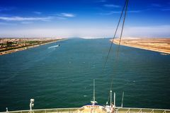 The Suez Canal at Port Said with the 2 exits to the Mediterranea Stock Photo