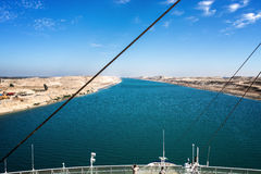 The Suez Canal - a ship drives in the new eastern extension cana Stock Photos