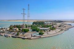 Suez kanal, Egypten Royaltyfria Foton