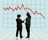 Suffer a financial loss. Two bussinessman studying a lose out chart Royalty Free Stock Photo