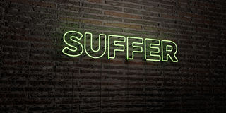 SUFFER -Realistic Neon Sign on Brick Wall background - 3D rendered royalty free stock image Stock Photography