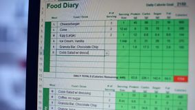 Suffering from anorexia person keeping online food diary, counting calories. Stock footage stock video