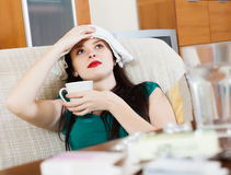 Suffering  brunnette woman Stock Images