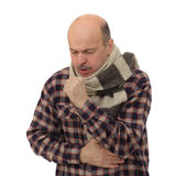 Suffering from flu virus, sneezing. Elderly man is ill from colds or pneumonia Royalty Free Stock Images