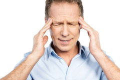 Suffering from headache. Royalty Free Stock Photos