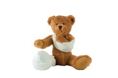 Suffering Injured Teddy Bear Royalty Free Stock Photography