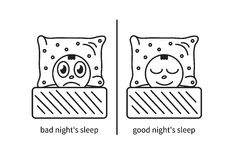 Suffering from insomnia. Cartoon line art man, suffering from insomnia and sleep. Vector illustration Royalty Free Stock Image