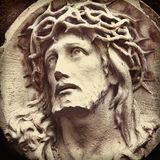 The suffering of Jesus Christ. Fragment of the statue. Sadness,