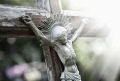 The suffering of Jesus Christ statue fragment religion stock photos
