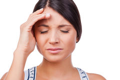Suffering from migraine. Royalty Free Stock Photo