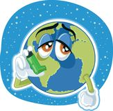 Suffering Planet Earth Cartoon Vector Ecology Concept Illustration Stock Photography