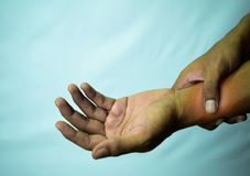 Suffering Relieving Repetitive Strain Injury stock image