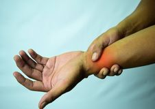 Suffering Relieving Repetitive Strain Injury royalty free stock photo