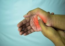 Suffering Relieving Repetitive Strain Injury. N stock images