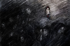Suffering the storm. A charcoal artistic concept drawing of a group of people huddle in a storm. Concept for emerging from an ordeal or seeing the light amongst