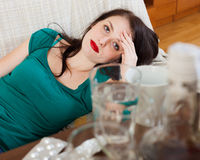 Suffering woman having hangover Stock Photo