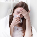 Suffers from allergies girl Stock Image