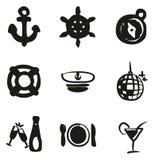 Suffisance d'icônes de croisière de bateau à main levée Photographie stock libre de droits