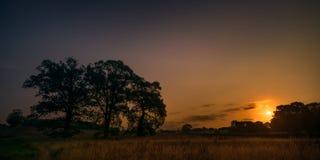 Suffolk-Bauernhof-Landschaft an der Dämmerung Stockbilder