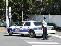 Suffolk County Police Department officer providing security during parade in Huntington Stock Photography
