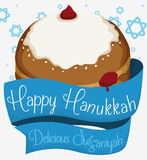Sufganiyah with Blue Ribbons around it and Stars for Hanukkah, Vector Illustration Royalty Free Stock Images