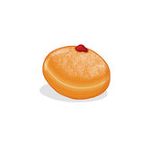 Sufganiyah illustration. Isolated Sufganiyah illustration; Jelly doughnut Stock Images