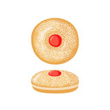 Sufganiyot icon in flat style. Royalty Free Stock Images