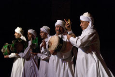 SUFI WHIRLING DERVISHES, CAIRO, EGYPT. Sufi Whirling dervish performance in Mausoleum of Al-Ghuri. executant Stock Images