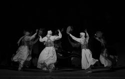 SUFI WHIRLING DERVISHES, CAIRO, EGYPT. Sufi Whirling dervish performance in Mausoleum of Al-Ghuri stock photo
