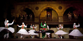 SUFI WHIRLING DERVISHES, CAIRO, EGYPT. Sufi Whirling dervish performance in Mausoleum of Al-Ghuri stock photography
