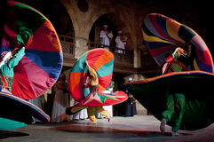 SUFI WHIRLING DERVISHES, CAIRO, EGYPT. Sufi Whirling dervish performance in Mausoleum of Al-Ghuri stock image