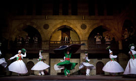 SUFI WHIRLING DERVISHES, CAIRO, EGYPT. Sufi Whirling dervish performance in Mausoleum of Al-Ghuri stock images