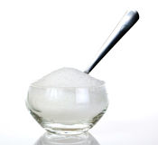Sugar. A glass bowl of sugar with a spoon royalty free stock photography