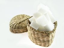Sugar. Some lumps of sugar in a basket Royalty Free Stock Photos