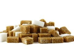 Sugar. Many white and Brown of sugar cubes stock images