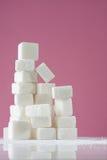 Sugar. Stack of White Sugar Cubes Stock Photo