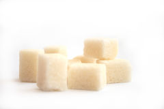 Sugar. On a photo sugar lump sugar. A photo on a white background Royalty Free Stock Image